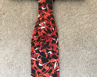 Greyhound tie - Black and red swirls.  Free Shipping