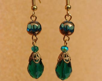 Gold and Teal Crystal Victorian Dangles