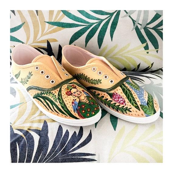 Hand Bemalt Canvas Schuhe Frida Kahlo Motiv Etsy