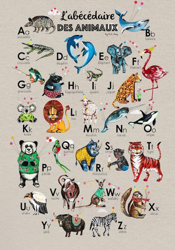 Animal Affiche L Abecedaire Des Animaux En Francais Etsy