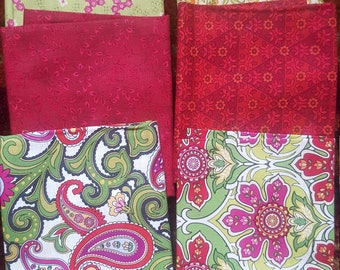 Bundle of 6  Fat quarter in rich cranberry/green tones