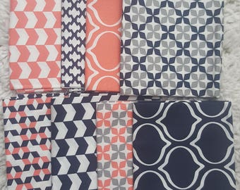 Bundle of 8 fat Coral/Blue/Gray/White Fat Quarters.