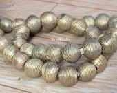 22 44 Ribbed Round Brass Beads. 12 13mm diameter Ghana lost wax Brass beads. Ashanti Craft Beads . AvidKrafts (821)