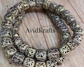 25 50 Rounded Cube Brass Beads. 10 11mm Ghana Brass Beads. Lost Wax Brass. Ashanti Craft Beads. AvidKrafts (275)