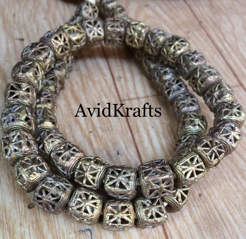 Ashanti Craft Beads 1011mm Ghana Brass Beads 275 2550 Rounded Cube Brass Beads Lost Wax Brass AvidKrafts