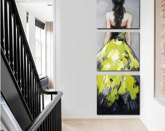 Affordable Handmade Painting - Lady in Dress, Three Panels (for Living Room Bedroom Home Decor)