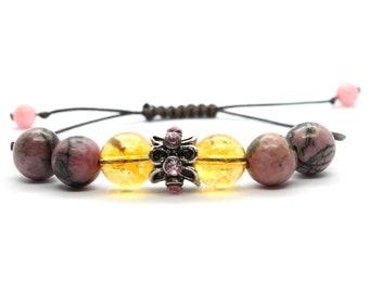 SCORPIO Zodiac Sign Bracelet Crystals Adjustable Bracelet Gemstones Hematite Bracelet Unakite Bracelet Minerals Citrine Bracelet