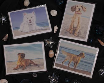 Greeting Card, Greeting Cards Assortment, Greeting Cards Blank, Greeting Cards for Every Occasion, Dogs On Beaches, Blank Inside, Set of 4