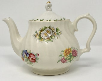 52346cc7307 Vintage Churchill Floral Teapot with Gold Trim Made In Romania