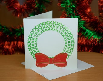 Wreath Card - Cross Stitch Sewing Style Holiday Card