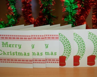 Cross Stitch Sewing Style Holiday Card pack of 6