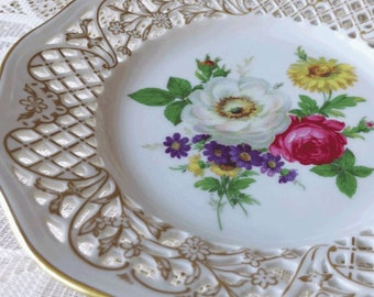 Schumann Dish Arzberg Tradition Germany Porcelain Reticulated Edge Vintage