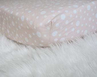 Blush Pink Irregular Polka Dots - Fitted Crib/Toddler Sheet - Modern Baby Girl Nursery