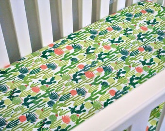 Boy Crib Sheet - Desert Cactus Flannel - Desert Themed Nursery - Outdoors Crib Bedding - Toddler Sheet - Southwest - Texas
