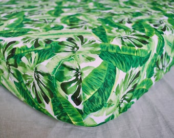 Jungle Crib Sheet - Boy Crib Sheet, Monstera Leaf, Tropical Diaper Changing Pad Cover, Rainforest Toddler Sheet, Outdoors