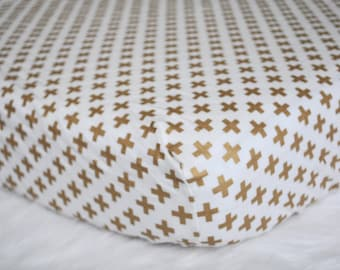 Gold Plus  - Fitted Crib/Toddler Sheet - Gold Crosses - x marks the spot - modern crib bedding - hipster nursery