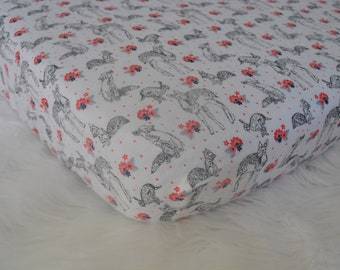 Fitted Crib Sheet - Woodland Creatures (Black and White and Pink)