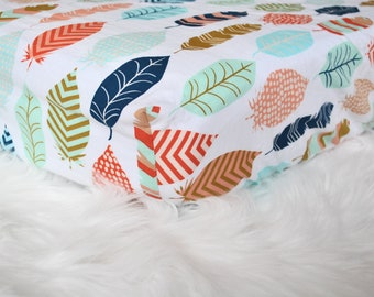 Rainbow Feathers - Fitted Crib/Toddler Sheet - Geometic - Bohemian - Boho