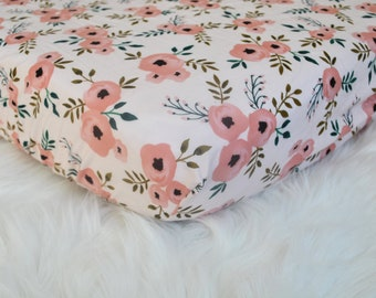 Watercolor Floral Blush Peach Ranunculus - Fitted Crib/Toddler Sheet- Changing Pad Cover - Bohemian - Boho