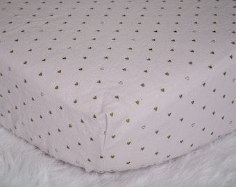 Little Golden Hearts for your Little Golden Heart - on Blush Pink - Fitted Crib/Toddler Sheet
