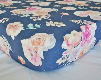 Watercolor Floral Roses and Peonies - Blue - Fitted Crib/Toddler Sheet - Bohemian - Boho Botanical