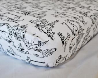 Travel Crib Sheet, Travel Themed Nursery, Black and white crib sheet, Cities of Europe, Paris, London, Venice, Fitted Crib/Toddler Sheet