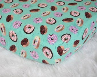 Sweet Dreams  - Fitted Crib/Toddler Sheet - Cozy Flannel - Turquoise Donuts - Sprinkles