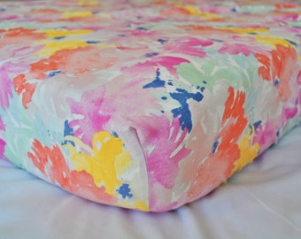 Watercolor Floral Peonies - Bright - Fitted Crib/Toddler Sheet- Bohemian - Boho