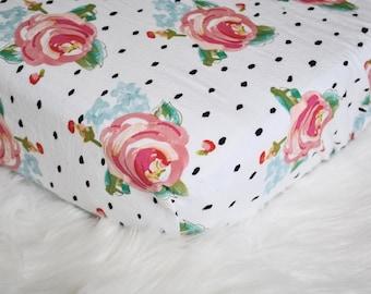 Watercolor Floral Peonies - Bright - Fitted Crib/Toddler Sheet - Irregular Polka Dots - Bohemian - Boho