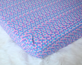 Mermaid Dreams - Fitted Crib/Toddler Sheet - Blue Scales - Flannel Diaper Changing Pad Cover