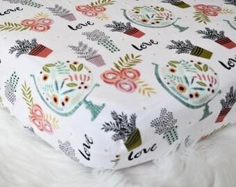 Botanical Globe  - Fitted Crib/Toddler Sheet - Floral - Bohemian - Boho