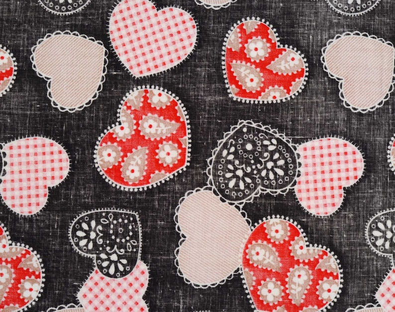Vintage 70/'s Heart Fabric Lightweight Sewing Project Home Decor Quilt Fabric Cotton Blend 2 Pieces