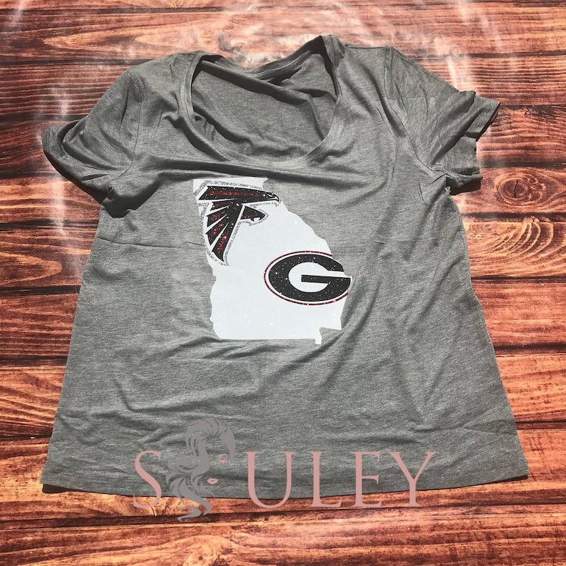 promo code 54b4f fda2f Glitter Georgia Football T Shirt - Atlanta falcons - Georgia Bulldogs