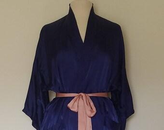Vintage ESME* Royal Blue Kimono Robe * Dragon Embroidery *