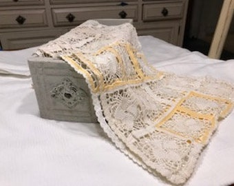 Vintage,crocheted yellow and white table runner.