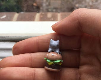 Cat on a Burger polymer clay charm