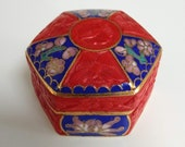 Vintage Chinese tiny red carved cinnabar and cloisonne enamel hinged pill or trinket box
