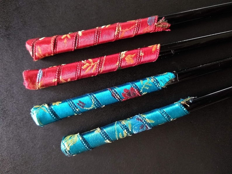 Chinese Pins Set of Four Vintage Silk Fabric Wrapped Hair Sticks Chopsticks for Buns