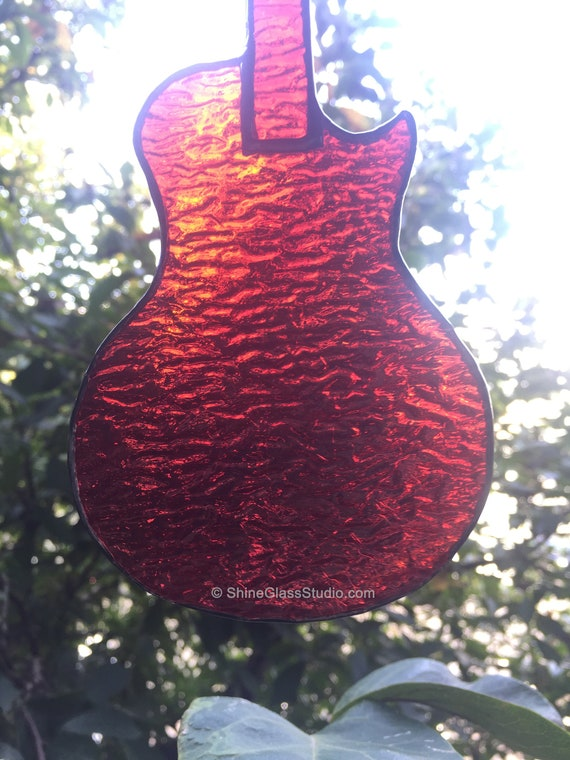Reinforced with Copper Wire Stained Glass Electric Guitar Gibson Les Paul styled Right Handed or Left Handed Suncatcher Blue