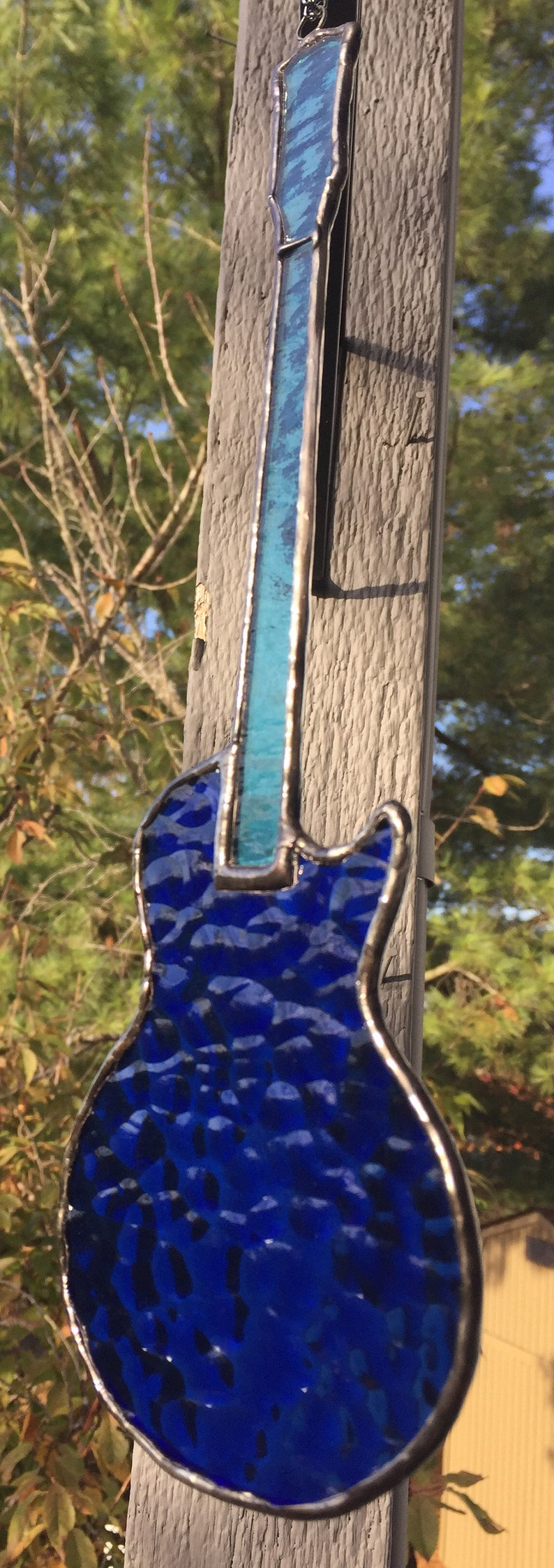 Stained Glass Electric Guitar Gibson Les Paul styled Right Handed or Left Handed Suncatcher Blue Reinforced with Copper Wire