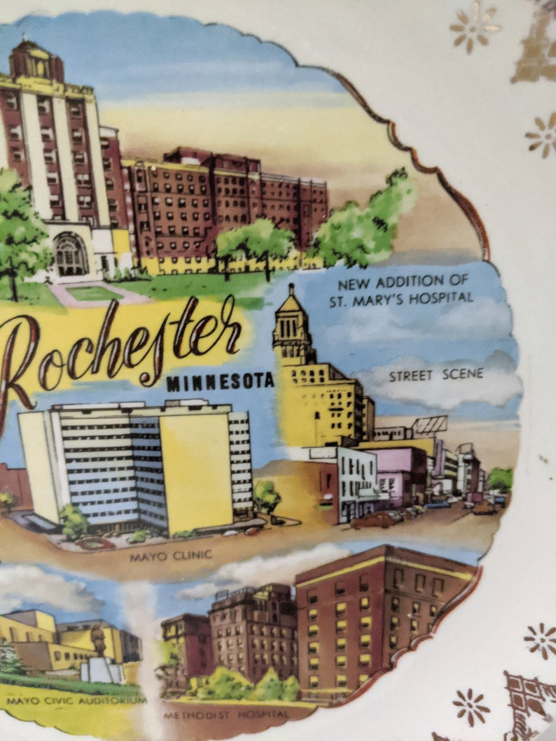 featuring the Mayo Clinic Vintage Rochester Minnesota Souvenir Plate