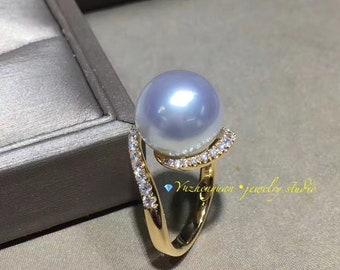 18k Gold Diamond Pearl Ring