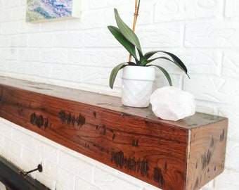 Distressed rustic walnut mantlepiece custom length made to order
