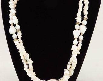 Double wrap long white mix stone necklace J104W