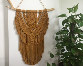 Large Macrame Wall Hanging/ Mustard/ Wall art/ Wall Tapestry/ Boho/ Decor