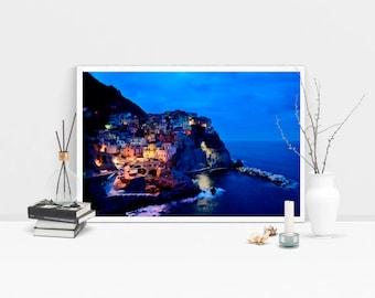 cinque terre italy, scene art, Instant download, realism, blue, rocks, sea, beach, buildings, city, cliffside, coast, lights, night, ocean