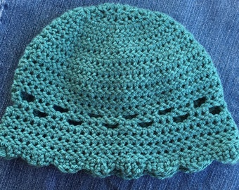 Handmade Teal Crochet Hat with Scallops