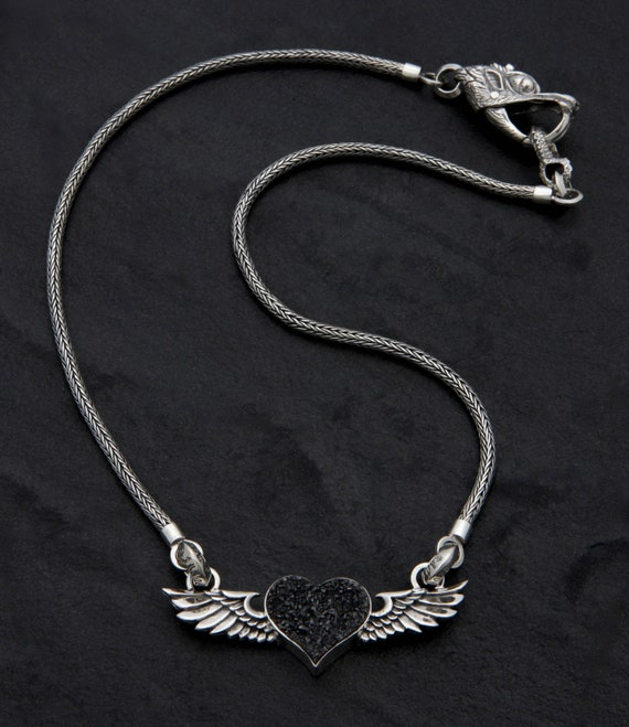 6 Heart with wings pendants antique silver tone AW30