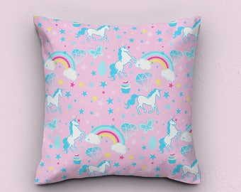 unicorn cushion, rainbow cushion, rainbow pillow cover, rainbow cushion cover, rainbow pillows, unicorn pillows, unicorn gift for her, gifts