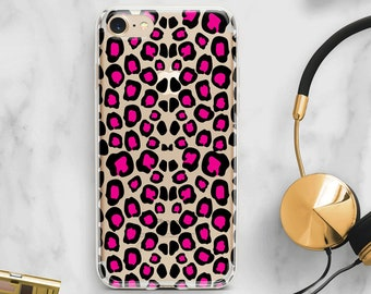 pink leopard iphone case, leopard phone case, pink gift for her, clear iphone 8 case, silicone cell phone case, clear iphone x case, custom